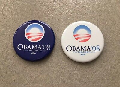 2008 Barack Obama Official Presidential Campaign Button Set Blue White Pin