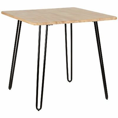 Hartleys Black Hairpin Leg Table With Solid Wood Top Kitchen Cafe Bistro Dining