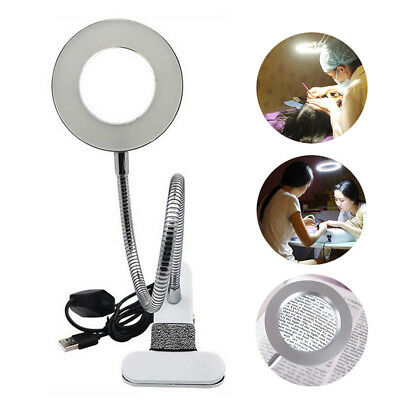Desk Table Top 8X Magnifying Glass Beauty Nail Salon Tattoo Magnifier Lamp Light
