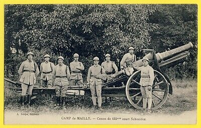 cpa FRANCE Military Gun CAMP de MAILLY La SUZON CANON de 155mm Court Schneider