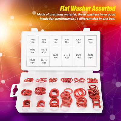 150Pcs 14 Sizes Red Steel Paper Fiber Flat Washers Kit Insulation Assorted Set