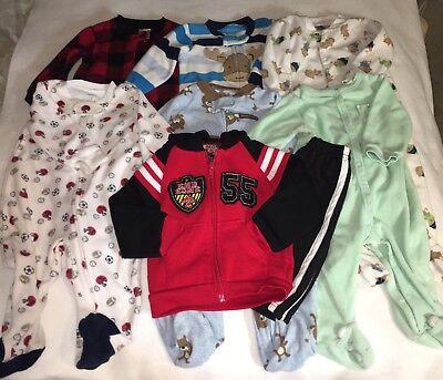 Carters Baby Boy 6 Sleepers 6 9 Months Plus Sweatsuit # 55 Winter Clothes