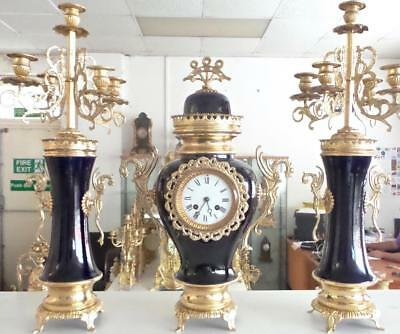 Spectacular Antique 19thc French gilt bronze & Porcelain Mantle Clock Set