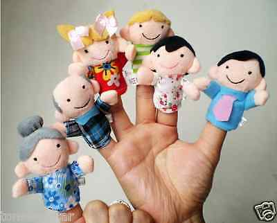 6PCS Baby Kids Plush Cloth Play Game Learn Story Family Finger Puppets Toys US