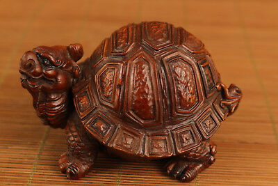 rare japan antique boxwood hand carved dragon turtle statue figure collectable