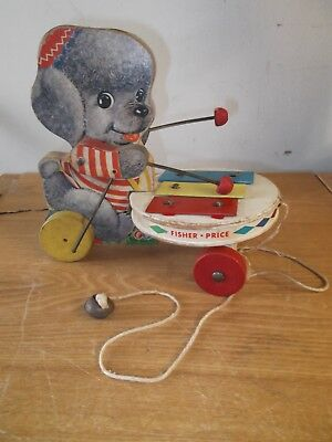 Vintage Fisher Price Pull Toy Poodle Zilo #739 1960's Xylophone