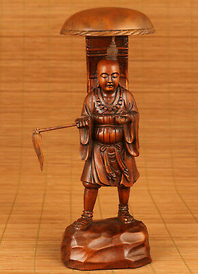 Ancient chinese old wood xuanzang Statue Valuable Statue Figure collectable
