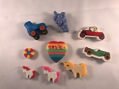 Vintage Lot 9 Erasers Love Hearts 80s 90s toy neon Rainbow Skater Unicorn Cute