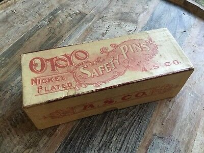 Antique Safety Pin Advertising Box A.S. CO. OTOYO Vintage Sewing Collectible