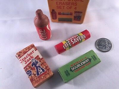 "Vintage ""Candy Store"" Erasers in Box! 80s Coke Doublemint CrackerJacks Lifesaver"