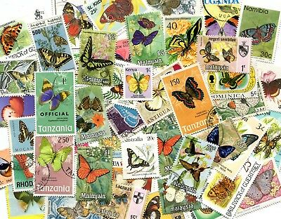 50 Different Butterflies & Moths on Stamps  Thematics STOCK PICTURE