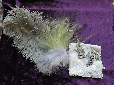 2 x  Vintage Dress/shoe clips with some feathers and hankie..