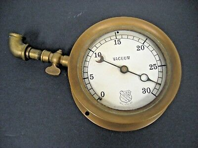 Antique Vintage Brass Ashcroft Pressure Vacuum Gauge Steam Railroad Train