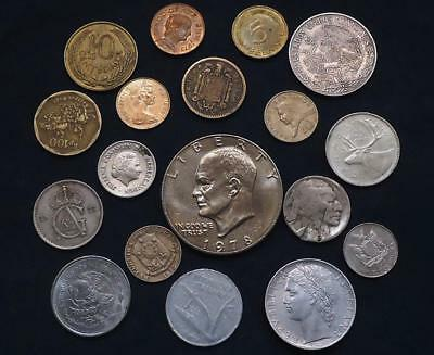 Foreign World Coins Lot Of 18, Silver Coin Included, See Pics