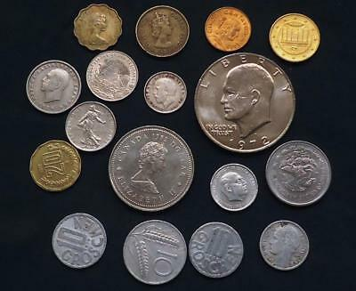 Foreign World Coins Lot Of 17, Silver Coin Included, See Pics