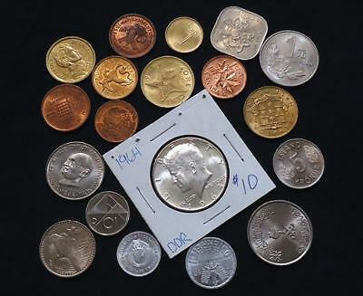 Foreign World Coins Lot Of 19, High Grades & Silver Coin Included, See Pics