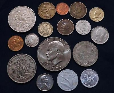 World Coins Lot Of 17,  Silver Coin Included, See Pics