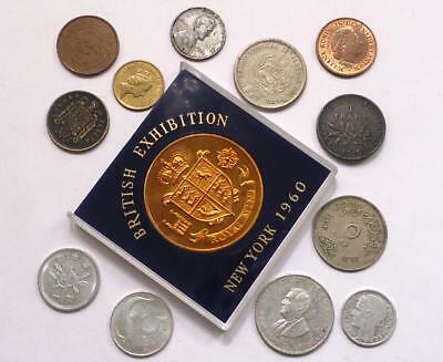 World Coins Lot Of 13,  Silver Coin Included, See Pics..