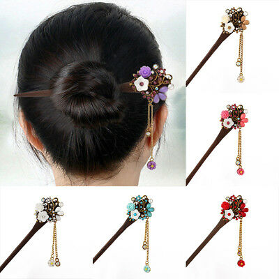 Chinese Retro Wood Rhinestone Crystal Hair Chopsticks Hairpin Stick Chignon Pin