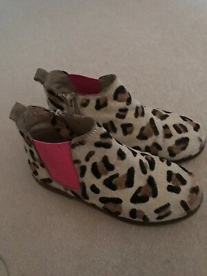 Girls Boden Leopard Print Cheksea Boots Size 35 (Uk 2.5)