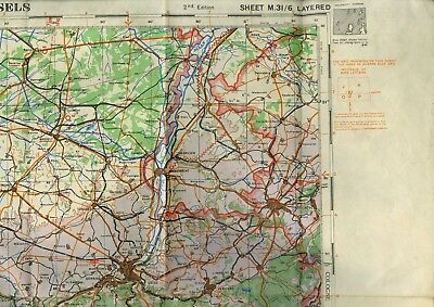 British Map 1942 -1:250,000 Europe, Brussels, Reims, Lille, Cologne, Canada WWII