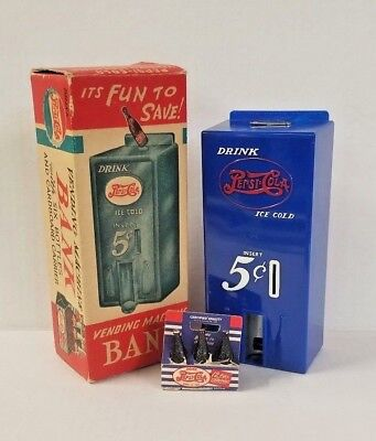 Vintage Marx 1950's Pepsi Cola Vending Machine Bank w/ 6 Pack and Original Box