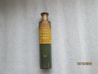 Early Original Shell Heavy Tractor Oil Bottle By The Roxana Petroleum Co. Full