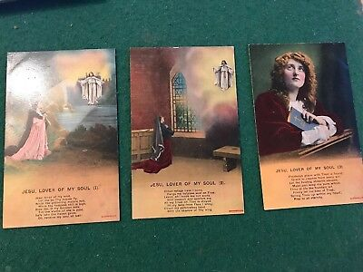JESU, LOVER OF MY SOUL: WW1 Bamforth Song Cards Postcards Set of 3 - 4506/1/2/3