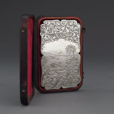 Antique Victorian Sterling Silver Visiting Card Case, Edward Smith, Birm. 1844
