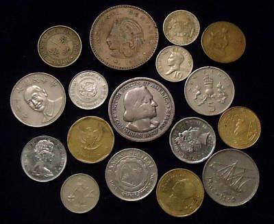 Foreign World Coins Lot Of 17, Silver Coin Included, See Pics.