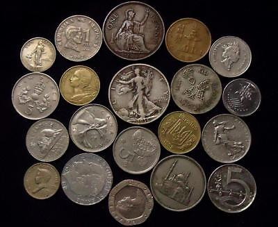 Foreign World Coins Lot Of 20, Silver Coin Included, See Pics...