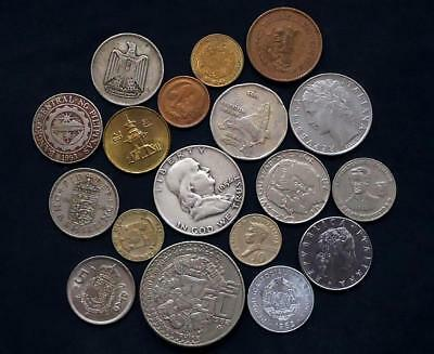 World Coins Lot Of 18, Silver Coin Included,