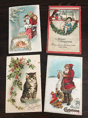 Antique Christmas Post Cards, Lot of four