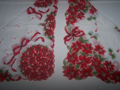 "Lot of 2 Christmas Holiday Poinsettia with Ribbons 13"" Hankies or Handkerchief"