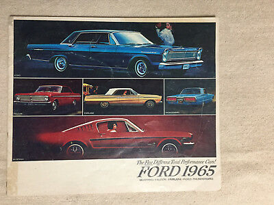 1965 FORD (Mustang, Falcon, Fairlane, Ford) Performance Cars Sales Brochure.