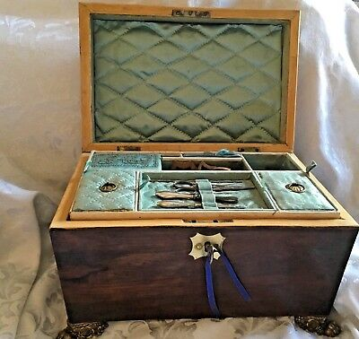 Rare Regency Sarcophagus Georgian Sewing Jewellery Box With Contents And Key