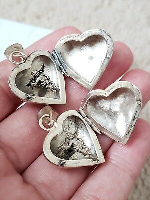 Pair of Vintage Sterling Silver Cherub Angel Heart Locket Pendants, Jewelry