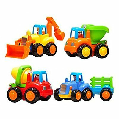Friction Powered Cars Push and Go Toys Car Construction Vehicles Toys Set of 4