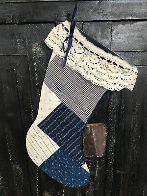 BEST LARGE Antique Dark Indigo Calico Handmade Stocking Textile AAFA - 1st of 2
