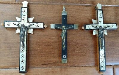 LOT 3 Very Old Crucifixes Mother of Pearl on Wood, One Is Brass