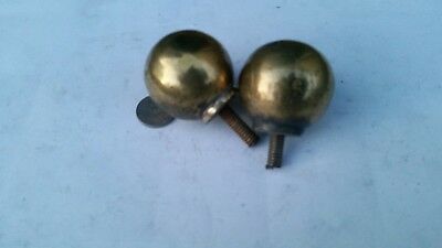 2 x 40mm ball Antique Clock Finial LAMP Furniture CURTAIN ENDS Brass OLD c1920