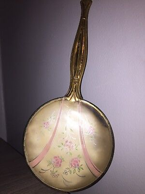 Antique Vintage Brass Hand Vanity Mirror Flowers Floral Design