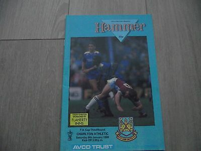 1987-88   West Ham United v Charlton Athletic -  F.A. Cup Round 3
