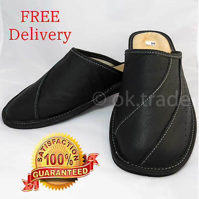 Mens Leather Slippers Slip on Shoes Mules Size 7 8 9 10 11 12 Black