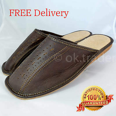 Brown Mens Leather Slippers Slip on Shoes Mules Size 7 8 9 10 11 12