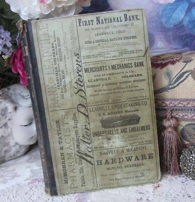 1880 Leadville Colorado 1st Annual City Directory Book Mining Inhabitants Orig