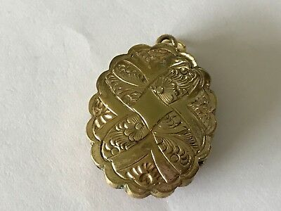 Heavy Antique Victorian 1890's 9 ct gold plated locket pendant. 1 1/8""