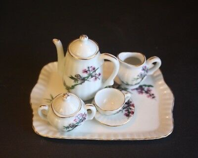 Miniature Japanese Tea Set 6 Pieces Hand Painted Vintage