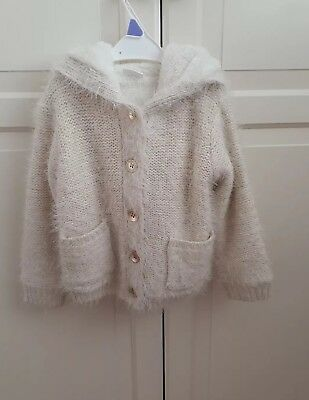 BNWT, Florence & Fred, 2-3, Cream / Gold Chunky Hooded Cardigan, soft lining.