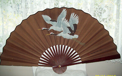 Vintage Paper & Wood Fan Hand Painted Flying Cranes 90cm Span x 51cm Signed